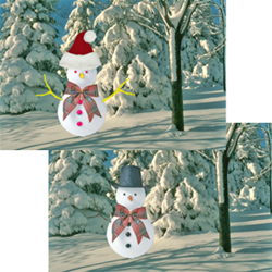 3D Lenticular Direct Maili Postcards with Lenticular flip 4 x 6 inches , Santa Hat Snowman