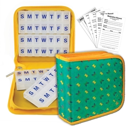 Pill Vitamin Organizer Yellow Green Butterfly Case