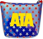 Lenticular zipper purse with USA flag, stars and stripes, color changing flip