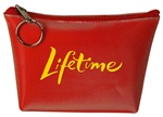 Lenticular zipper purse with red and white gradient, color changing