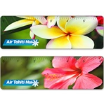 Lenticular ruler with tropical Hawaiian flowers, Hibiscus and Plumeria, flip