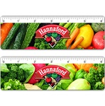 Lenticular ruler with potpurri of grocery vegetables such as carrots, tomatoes, lettuce, cabbage, celery, and peppers, flip