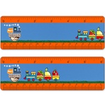 Lenticular ruler with childrens toy train carrying strawberries, apples, and other fruit, drives across track, animation