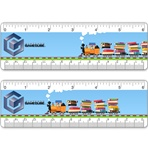 "Lenticular 6"" ruler with children's toy train carrying many stacks of books, driving across the track."