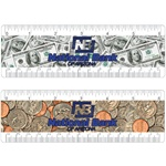"Lenticular PET 6"" MI ruler with United States of America USA money, currency, dollars and coins, flip"