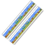 Lenticular ruler with happy colorful children dancing in a grass field, waving their arms in the air, animation