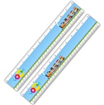 Lenticular ruler with childrens toy train carrying many stacks of school and college books, drives across track, animation