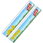 Lenticular ruler with growing bright yellow flowers in a grassy spring field in clear blue skies, animation