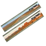 "Lenticular Acrylic 12"" ruler with Monument Valley in Utah, wide open road, red clay rocks, plateaus, and tumbleweeds"