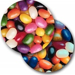 Lenticular sticker with custom design, colorful rainbow assorted Jelly Belly jelly beans, flip