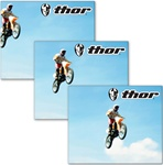 Lenticular sticker with custom design, Thor motocross apparel, motorcycle rider flies through the air after he hits a jump, flip