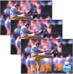 Lenticular sticker with custom design, FOx Sports Net, Washington Redskins NFL player punts the football, animation