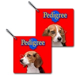 Lenticular zipper with custom design, Pedigree food company, beagle breed dog with gold rimmed glasses, tilts head side to side, flip