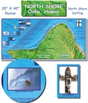 North Shore, Oahu Poster by Frankos Maps Ltd.