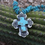 Floral Turquoise Cross Pendant