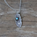 Stamped Star Feather Pendant