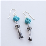 Turquoise Cross Squash Blossom Earrings