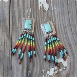 Dangling Beaded Turquoise Earrings 2