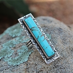 Long Turquoise Bar Ring