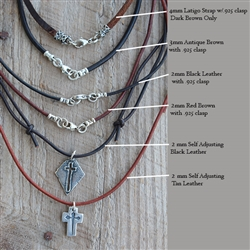 Leather Cord-3mm with Sterling Clasp