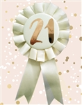 Rose Gold 21st Rosette Badge