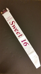 WHITE SWEET 16 SASH