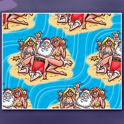 SANTA ON THE BEACH GIFT WRAP