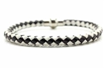 Braided Leather Bracelet, Magnetic Clasp, Black, White, 8 1/4 In