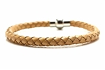 Braided Leather Bracelet,Magnetic Clasp / Brown,8 1/4 In