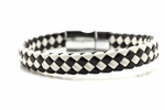 Braided Leather Bracelet, Magnetic Clasp, Black, White, Rectangle, 7 3/4 In