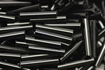 Tube Bead, Vintage, Czechoslovakian, 18MM, Black