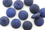 Button, Vintage, Czechoslovakian, 17MM, Round, Matte Finish, Denim Blue