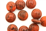 Button, Vintage, Czechoslovakian, 17MM, Round, Burnt Orange Picasso