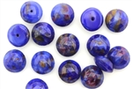 Button, Vintage, Czechoslovakian, 10MM, Round, Faceted, Lapis Blue