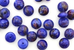 Button, Vintage, Czechoslovakian, 8MM, Round, Faceted, Lapis Blue