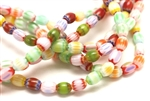 Bead, Chevron, Glass, 8MM, Barrel, Mixed Color
