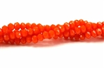 Bead, Crystal, 3MM X 4MM, Faceted Rondelle, Orange Velvet