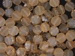 10MM Round Etched Table Cut Crystal / Pale Peach