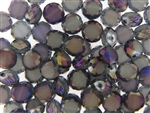 10MM Round Etched Table Cut Crystal / Light Aqua Purple Iris