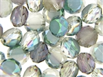 14MM Round Etched Table Cut Crystal / Light Watermelon Green Iris