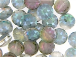 Etched Star Crystal Bead 14MM Puffed Coin / Light Watermelon Green Iris