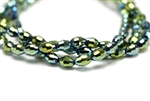 6MM X 4MM Crystal Barrel / Metallic Green