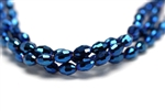 6MM X 4MM Crystal Barrel / Metallic Blue