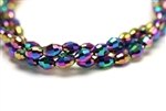 6MM X 4MM Crystal Barrel / Metallic Gold Purple Iris
