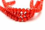 6MM X 8MM Crystal Rondelle / 8IN Strand,Red Orange Velvet