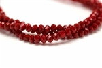 3MM X 4MM Crystal Rondelle / 8 IN Strand,Red Velvet