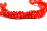 4MM X 6MM Crystal Rondelle / 8 IN Strand,Red Orange Velvet