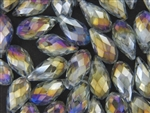 10MM X 19MM Crystal Briolette / Light Aqua Purple Iris