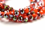 Bead, Crystal, Faceted, Rondelle, 8MM X 10MM, Red Orange Velvet, 1/4 Gray Iris