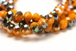 Bead, Crystal, Rondelle, Faceted, 8MM X 10MM, Orange Yellow Velvet, 1/4 Grey Iris